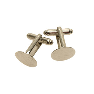 Cufflinks in platinum color with adhesive surface per pair