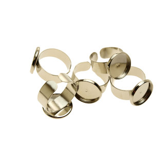 Ring silver color with tray 14 mm. 3 pieces