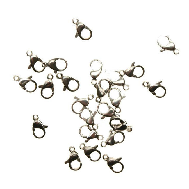 Stainless steel lobster clasp 10 mm. 10 pieces