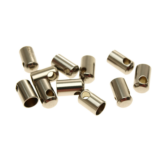 Stainless steel end cap with hole for 6 mm. round cord 10 pieces