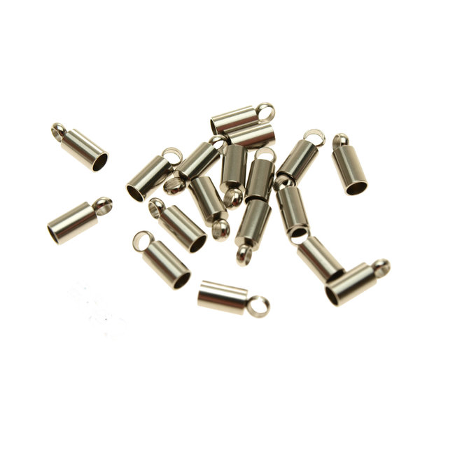 Stainless steel end cap with eye for 2.5 mm. round cord 10 pieces
