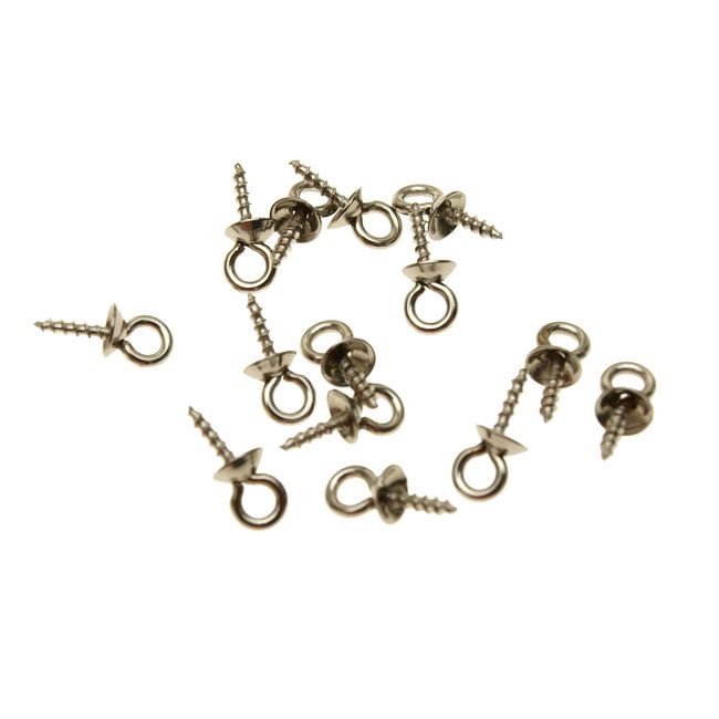 Stainless steel eyelets with screw thread length 10.5 mm. 5 pieces