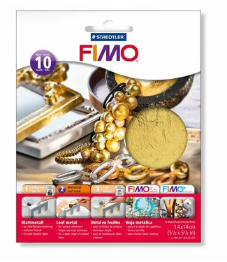 Fimo Sheet metal Gold 10 sheets of 14 x 14 cm.