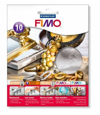 Fimo Sheet metal Silver 10 sheets of 14 x 14 cm