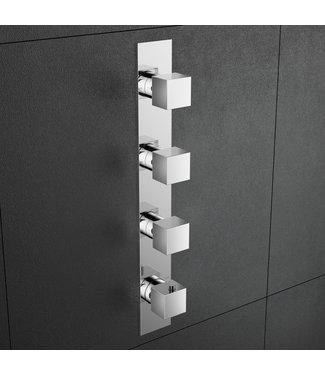 Hotbath Bloke Q050 - Inbouw douche thermostaat met 3 stopkranen verticale plaatsing