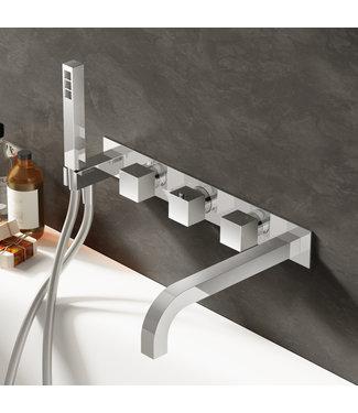 Hotbath Bloke Q062 - Inbouw bad thermostaat met 2 stopkranen en uitloop 22,5 cm