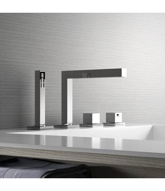 Hotbath Bloke Q063 - Thermostatische badrandcombinatie met uitloop en 2-weg omstel