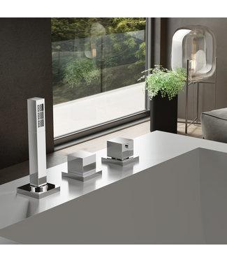 Hotbath Bloke Q065 - Thermostatische badrandcombinatie zonder uitloop en 2-weg omstel