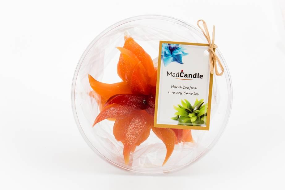 MadCandle Bougie Fleur Moyen Orange