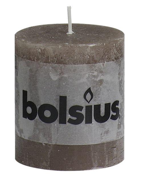 Bolsius kaarsen Stump candle rustic 80/68 taupe