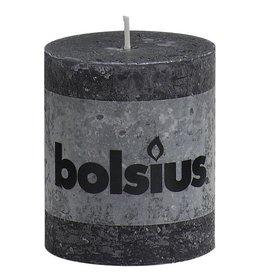 Bolsius kaarsen Pillar candle rustic 80/68 anthracite