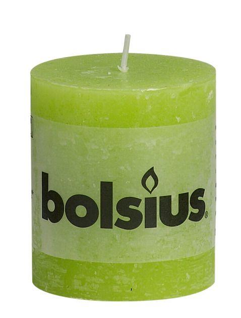 Bolsius kaarsen Pillar candle rustic 80/68 lime