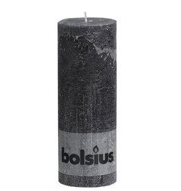 Bolsius kaarsen Stompkaars rustiek 190/68 antraciet