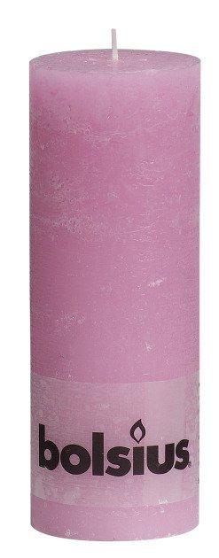 Bolsius kaarsen Pillar candle rustic 190/68 pink