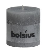 Bolsius kaarsen Pillar candle rustic 100/100 light gray