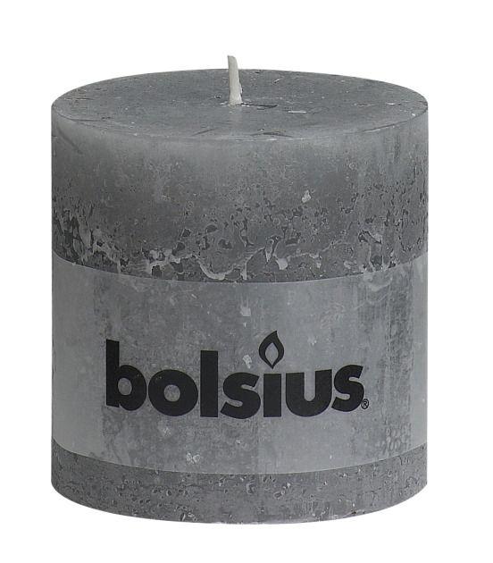 Bolsius kaarsen Stompkaars rustiek 100/100 lichtgrijs