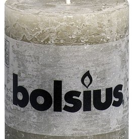 Bolsius kaarsen Pillar candle rustic 80/68 pebble gray
