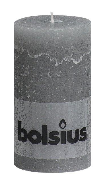 Bolsius kaarsen Pillar candle rustic 130/68 light gray