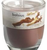 Bolsius kaarsen Sandalwood fragrance glass with lid 80/70