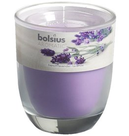Bolsius kaarsen French lavender glass with lid 80/70