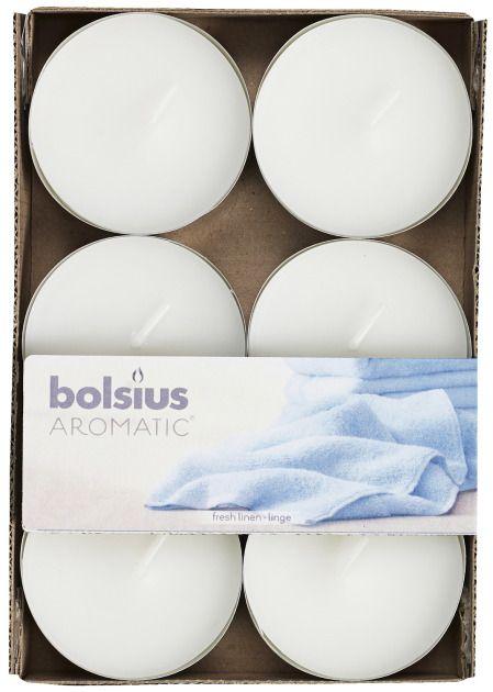 Bolsius kaarsen Fresh linen maxi fragrance tealight 8 hours