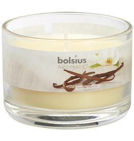 Bolsius kaarsen Verre vanille avec couvercle 63/90