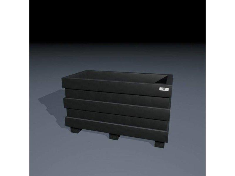 Bloembak Madrid 60x120x60 Zwart (Ural Black) met onderbalken