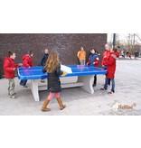 HeBlad Blauwe tennistafel met afgeronde hoeken