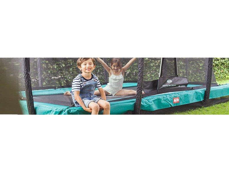 BERG InGround Trampoline EazyFit Groen 220x330 + Safety Net Deluxe