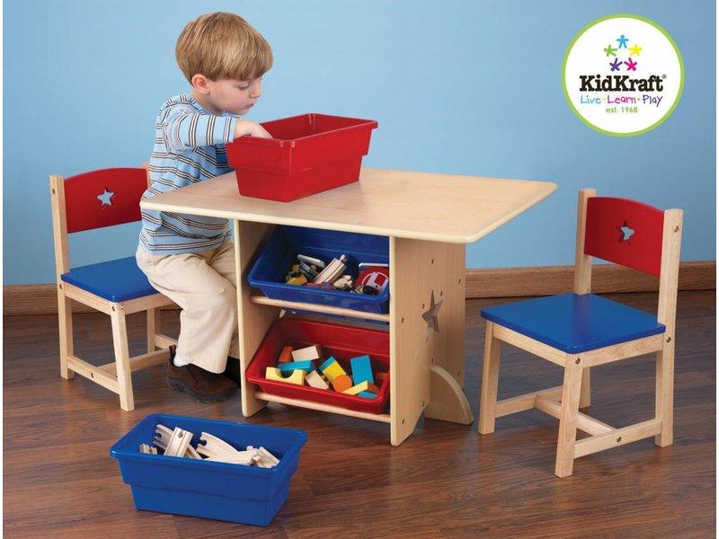 Kidkraft Tafel en 2 stoelen met sterren en bakken in primaire kleuren