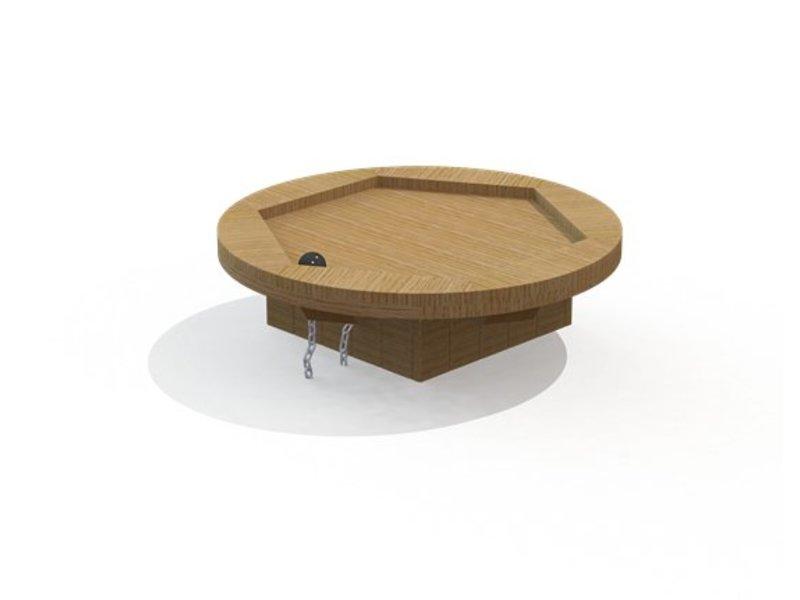 IJreka  Ronde watertafel eiken met ring en stop