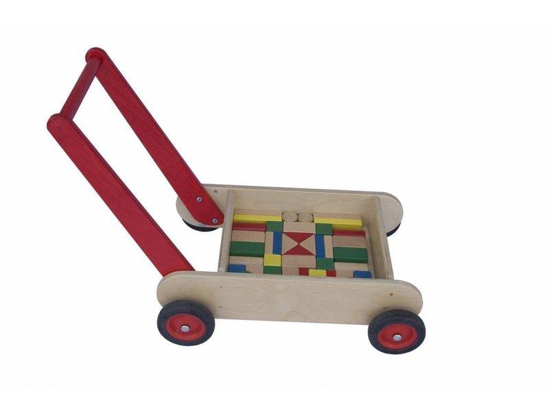 Blokken-duwwagen rood