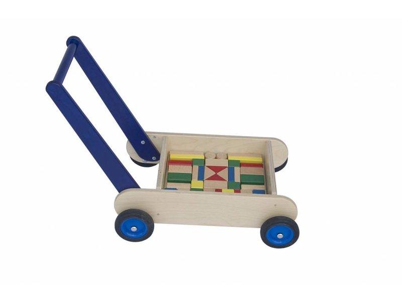 Blokken-duwwagen blauw
