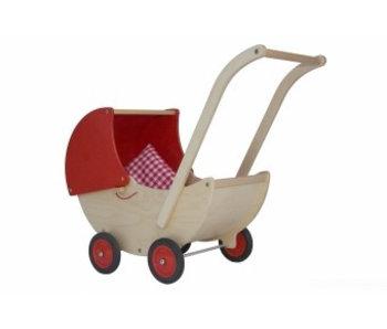 Houten poppenwagen rood