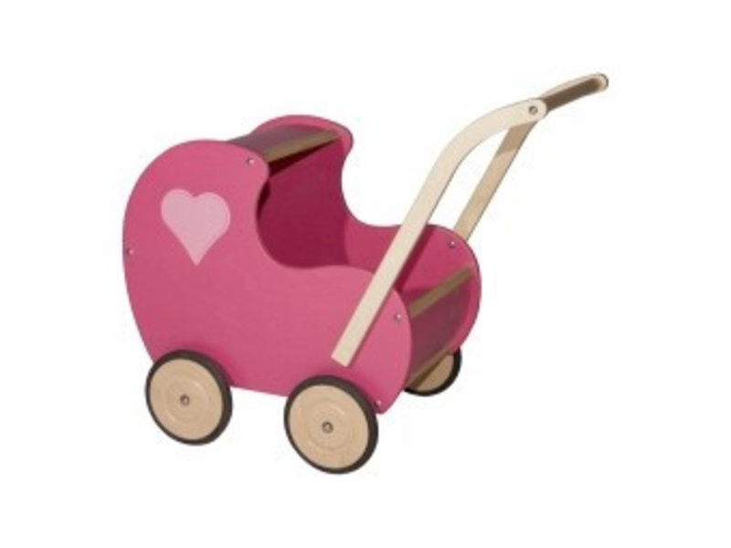 Poppenwagen klein roze dicht hart
