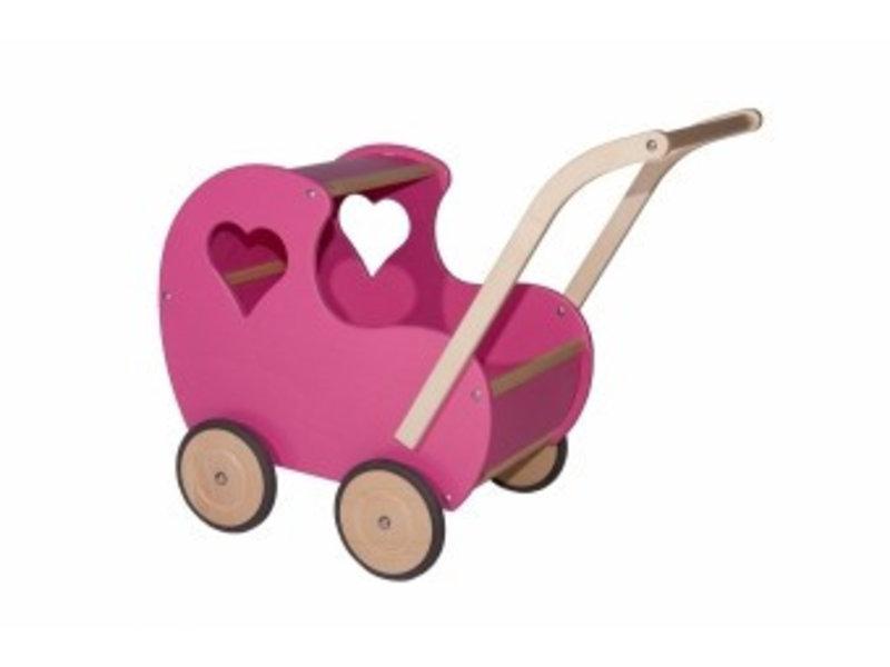 Poppenwagen klein roze open hart