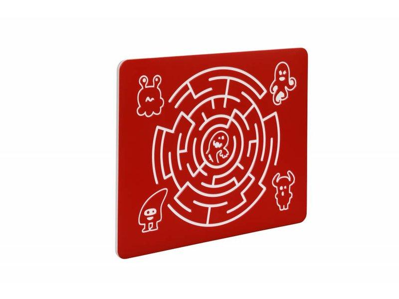 Speelpaneel 'doolhof rond' - rood - 735x585 mm