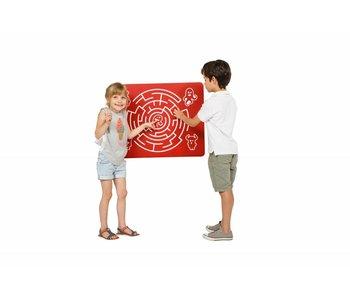 Speelpaneel 'doolhof rond' - rood