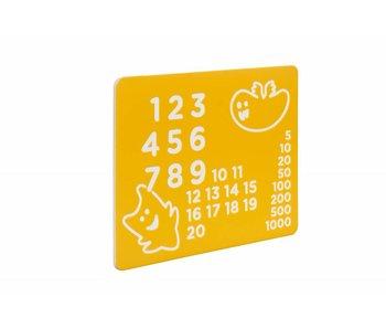 HDPE speelpaneel 'nummers' - geel