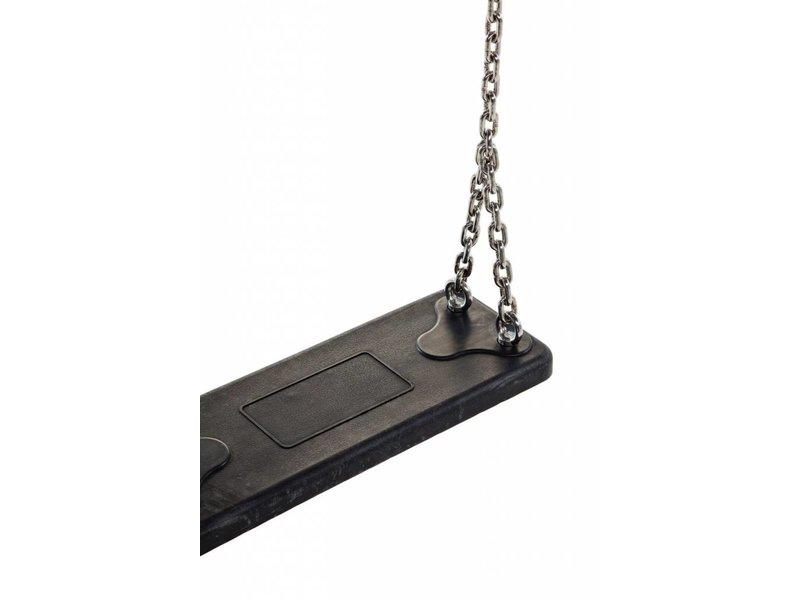 Rubberen  schommelzitje Basic zwart met RVS kettingset 2 meter