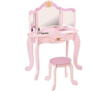 Kidkraft houten kaptafel Roze met stoel