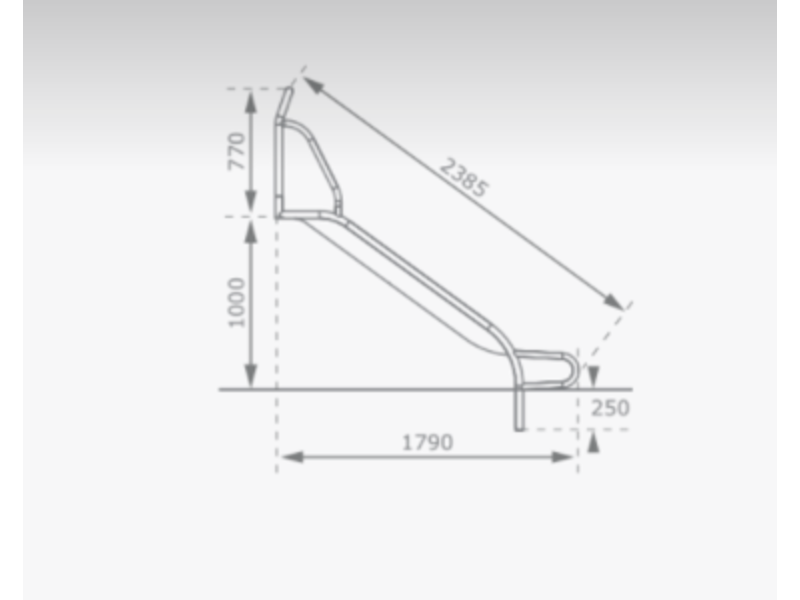 KBT RVS Glijbaan voor Platformhoogte 90/100 cm Extra Breed met beugel