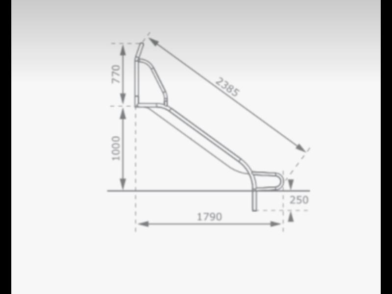 RVS Glijbaan voor Platformhoogte 90/100 cm Extra Breed met beugel