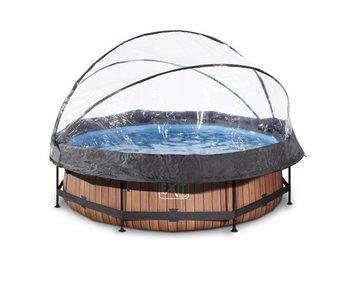 Exit  Wood zwembad ø360x76cm met overkapping en filterpomp