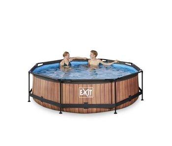 Exit  Wood zwembad ø300x76cm met filterpomp
