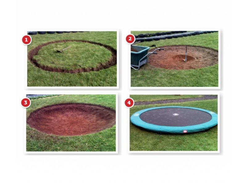 BERG InGround Trampoline Favorit 380 grijs + Safety Net Comfort