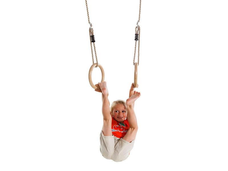 Houten turnringen met PP touw