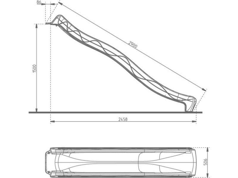 Losse glijbaan Tsuri lengte 290 cm - blauw