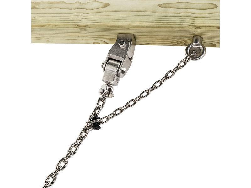 Rvs schommelhaak openbaar met cardangewicht, pen & ketting - schachtlengte 220 mm