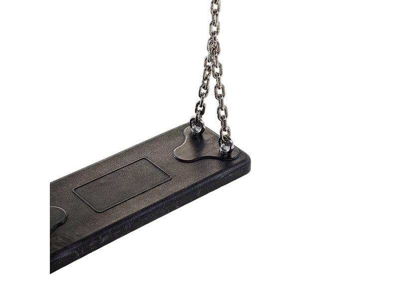 Rubberen schommelzitje Basic zwart met gegalvaniseerde kettingset 2 meter